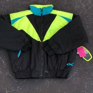 Vintage Alpine Ski Puffer Neon Winter Coat sz XL